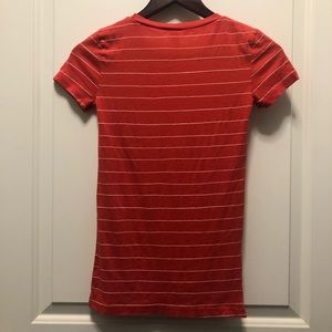 Hollister Tops - Hollister Red Orange Striped Tee Shirt Small